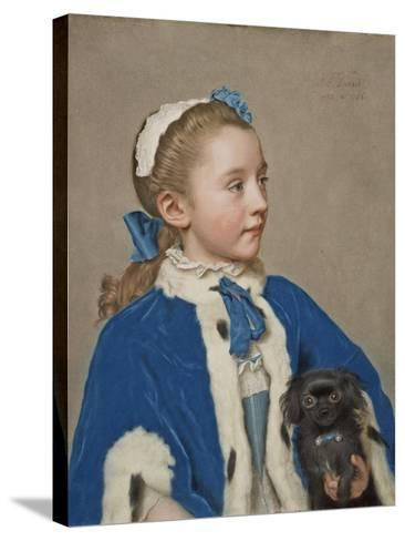 Portrait of Maria Frederike van Reede-Athlone at Seven Years of Age, 1755-Jean-Etienne Liotard-Stretched Canvas Print