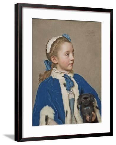 Portrait of Maria Frederike van Reede-Athlone at Seven Years of Age, 1755-Jean-Etienne Liotard-Framed Art Print