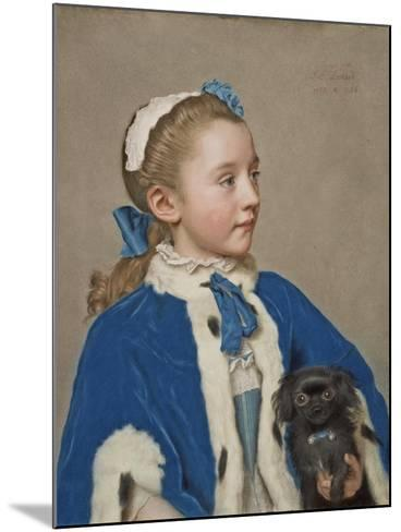 Portrait of Maria Frederike van Reede-Athlone at Seven Years of Age, 1755-Jean-Etienne Liotard-Mounted Giclee Print