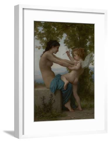 A Young Girl Defending Herself against Eros, c.1880-William-Adolphe Bouguereau-Framed Art Print