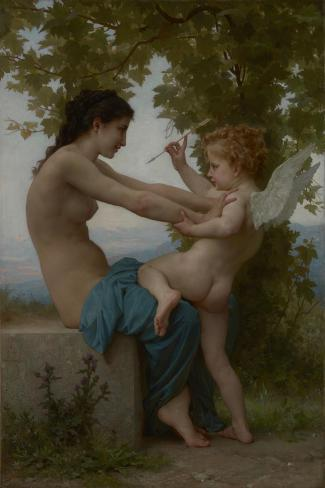 A Young Girl Defending Herself against Eros, c.1880-William-Adolphe Bouguereau-Stretched Canvas Print