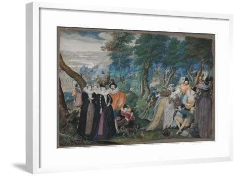 A party in the Open Air. Allegory on Conjugal Love, c. 1590-1595-Isaac Oliver-Framed Art Print