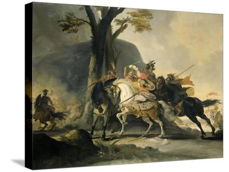 Alexander the Great at the Battle of the Granicus River in 334 BC against the Persians, 1737-Cornelis Troost-Stretched Canvas Print