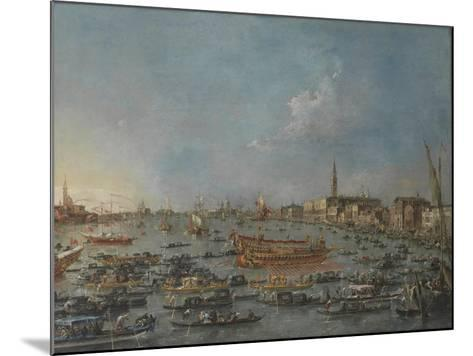 "Bucintoro Festival Venice. Bacino di S. Marco w/ ""Bucintoro"", Doge's Barge, Ascension Day, 1780-93-Francesco Guardi-Mounted Giclee Print"