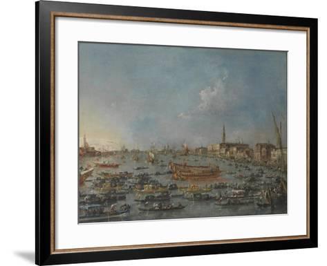 "Bucintoro Festival Venice. Bacino di S. Marco w/ ""Bucintoro"", Doge's Barge, Ascension Day, 1780-93-Francesco Guardi-Framed Art Print"