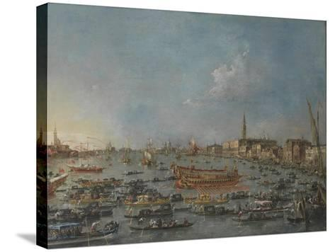 "Bucintoro Festival Venice. Bacino di S. Marco w/ ""Bucintoro"", Doge's Barge, Ascension Day, 1780-93-Francesco Guardi-Stretched Canvas Print"