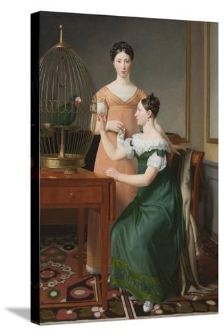 Bella and Hanna. The Eldest Daughters of M.L. Nathanson, 1820-Christoffer-wilhelm Eckersberg-Stretched Canvas Print