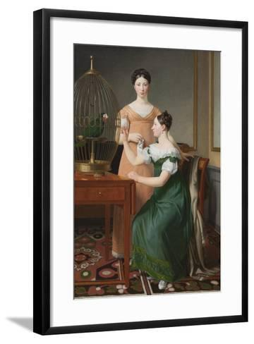 Bella and Hanna. The Eldest Daughters of M.L. Nathanson, 1820-Christoffer-wilhelm Eckersberg-Framed Art Print