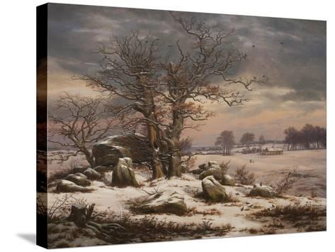 Winter Landscape. Near Vordingborg, 1827-Johan Christian Dahl-Stretched Canvas Print