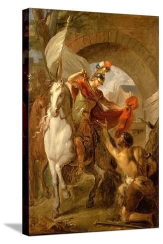 Saint Martin Sharing his Coat with a Beggar, c.1737-Louis Galloche-Stretched Canvas Print
