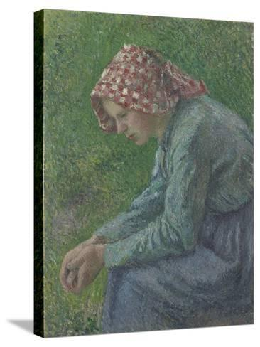 A Seated Peasant Woman, 1885-Camille Pissarro-Stretched Canvas Print