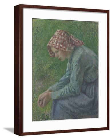 A Seated Peasant Woman, 1885-Camille Pissarro-Framed Art Print