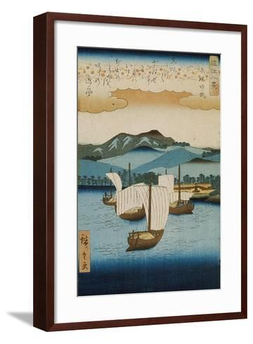 Returning Sails at Yabase from the Series Eight Views of Omi, c.1855-8-Ando or Utagawa Hiroshige-Framed Art Print
