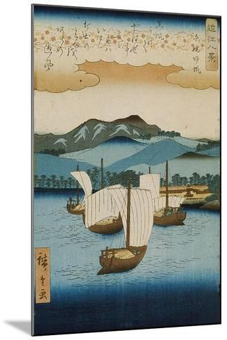 Returning Sails at Yabase from the Series Eight Views of Omi, c.1855-8-Ando or Utagawa Hiroshige-Mounted Giclee Print