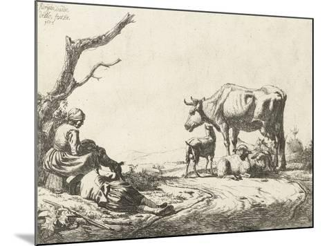 Shepherd and Shepherdess with Cattle, 1653-Adriaen van de Velde-Mounted Giclee Print