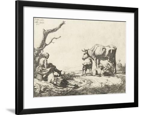 Shepherd and Shepherdess with Cattle, 1653-Adriaen van de Velde-Framed Art Print