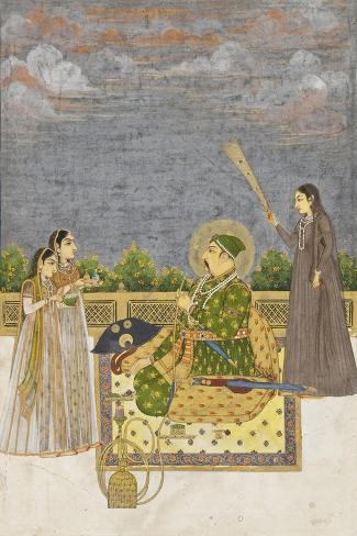 Emperor Muhammad Shah, c.1735-Mughal School-Stretched Canvas Print