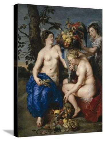 Ceres with Two Nymphs, 1615-7-Peter Paul and Snyders, Frans Rubens-Stretched Canvas Print