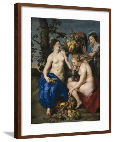 Ceres with Two Nymphs, 1615-7-Peter Paul and Snyders, Frans Rubens-Framed Art Print