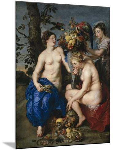Ceres with Two Nymphs, 1615-7-Peter Paul and Snyders, Frans Rubens-Mounted Giclee Print