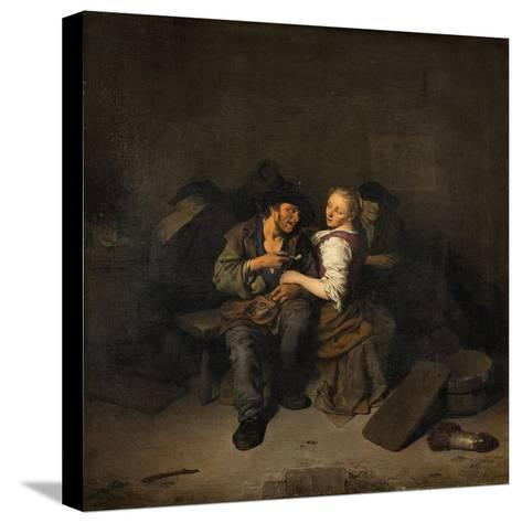 Young Couple in a Tavern, 1661-Cornelis Bega-Stretched Canvas Print