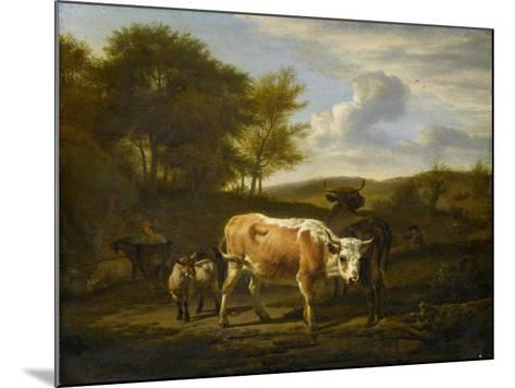 Mountainous Landscape with Cows, 1663-Adriaen van de Velde-Mounted Giclee Print