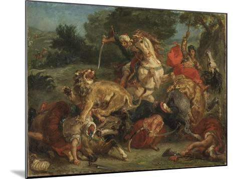 The Lion Hunt, 1855-Eugene Delacroix-Mounted Giclee Print