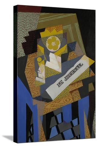 Newspaper and Fruit Dish, 1916-Juan Gris-Stretched Canvas Print