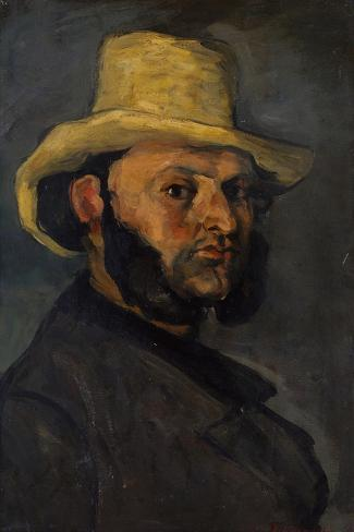 Gustave Boyer in a Straw Hat, 1870-71-Paul Cezanne-Stretched Canvas Print