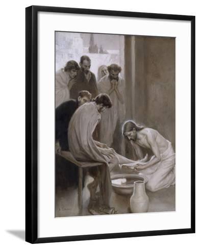 Jesus Washing the Feet of his Disciples, 1898-Albert Gustaf Aristides Edelfelt-Framed Art Print