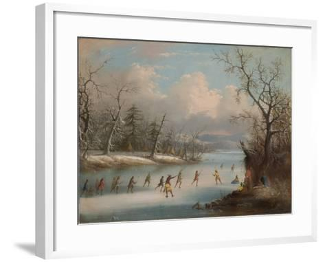 Indians Playing Lacrosse on the Ice, 1859-Edmund C. Coates-Framed Art Print