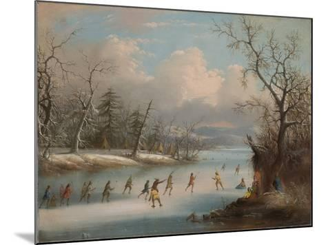 Indians Playing Lacrosse on the Ice, 1859-Edmund C. Coates-Mounted Giclee Print