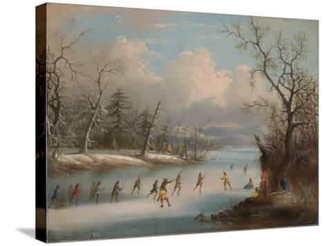 Indians Playing Lacrosse on the Ice, 1859-Edmund C. Coates-Stretched Canvas Print