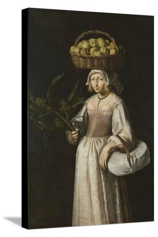 The Vegetable Seller-French School-Stretched Canvas Print