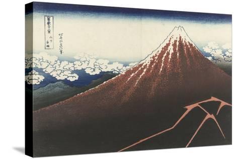 A Thunderstorm Below The Summit, c.1830-Katsushika Hokusai-Stretched Canvas Print