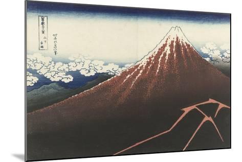 A Thunderstorm Below The Summit, c.1830-Katsushika Hokusai-Mounted Giclee Print