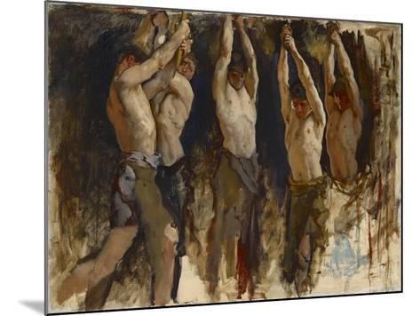 Men at an Anvil, Study for The Spirit of Vulcan, c.1904-8-Edwin Austin Abbey-Mounted Giclee Print