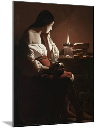 The Magdalen with the Smoking Flame, c.1638-40-Georges de la Tour-Mounted Giclee Print