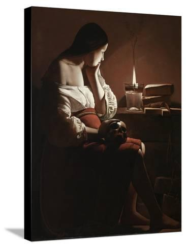 The Magdalen with the Smoking Flame, c.1638-40-Georges de la Tour-Stretched Canvas Print