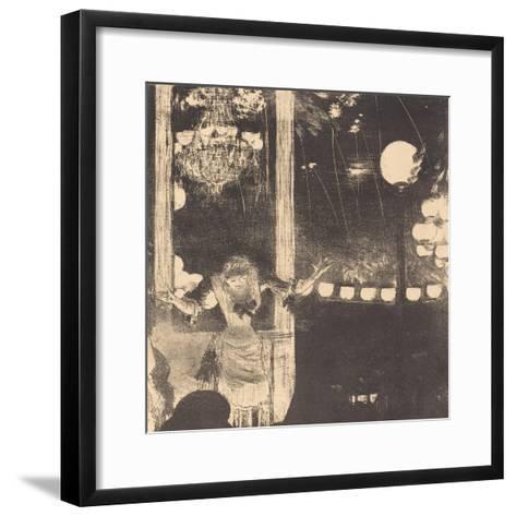 Mademoiselle Becat at the Cafe des Ambassadeurs, c.1877-Edgar Degas-Framed Art Print