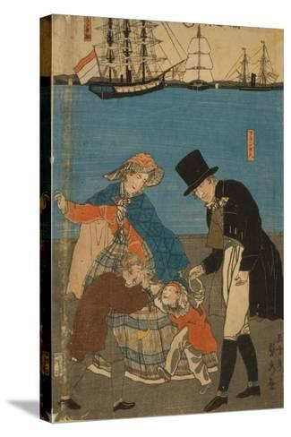 Dutch people taking a Sunday walk in Yokohama, 1871-Utagawa Sadahide-Stretched Canvas Print