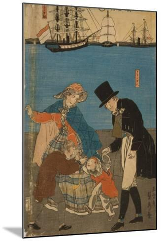 Dutch people taking a Sunday walk in Yokohama, 1871-Utagawa Sadahide-Mounted Giclee Print