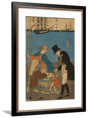 Dutch people taking a Sunday walk in Yokohama, 1871-Utagawa Sadahide-Framed Art Print