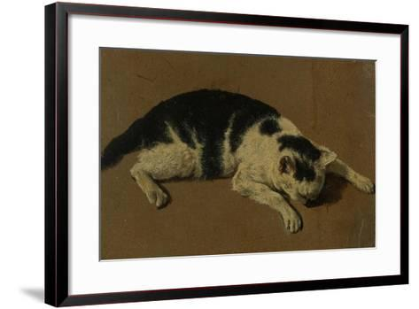 Cat lying down-Adriaen van de Velde-Framed Art Print