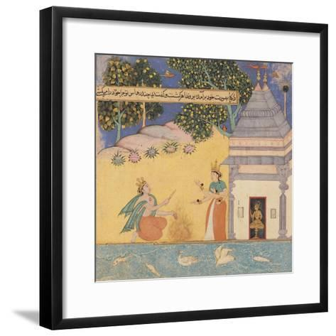 Prince Chandrahasa and a Goddess, 1610-20-Mughal School-Framed Art Print