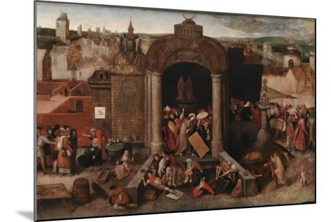 Christ Driving the Traders from the Temple, c.1570-5-Hieronymus Bosch-Mounted Giclee Print