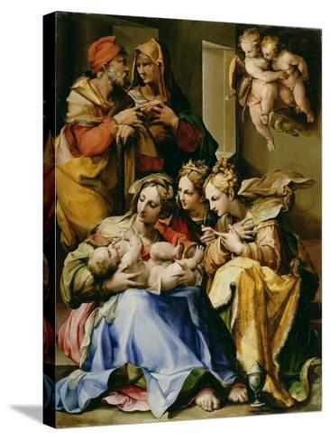 Holy Family with Saints Anne, Catherine of Alexandria, and Mary Magdalene, c.1560-9-Nosadella-Stretched Canvas Print
