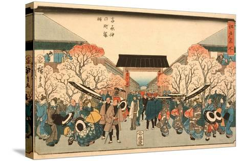 Cherry Blossom Time in Nakanoch? of the Yoshiwara from the series Famous Places of Edo, c.1848-9-Ando or Utagawa Hiroshige-Stretched Canvas Print