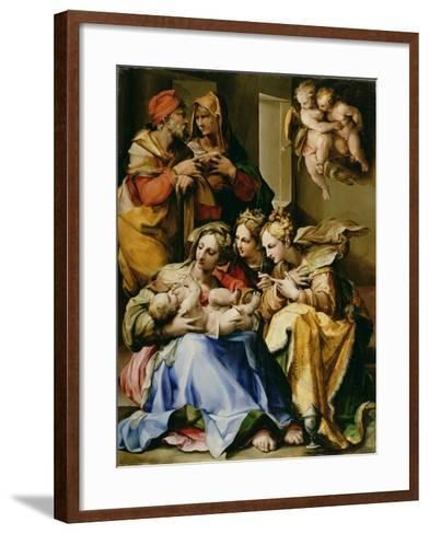 Holy Family with Saints Anne, Catherine of Alexandria, and Mary Magdalene, c.1560-9-Nosadella-Framed Art Print