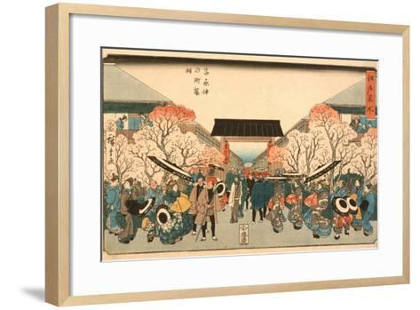 Cherry Blossom Time in Nakanoch? of the Yoshiwara from the series Famous Places of Edo, c.1848-9-Ando or Utagawa Hiroshige-Framed Art Print